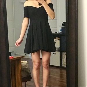 {Nasty Gal} Black Off-Shoulder Mini Slater Dress S